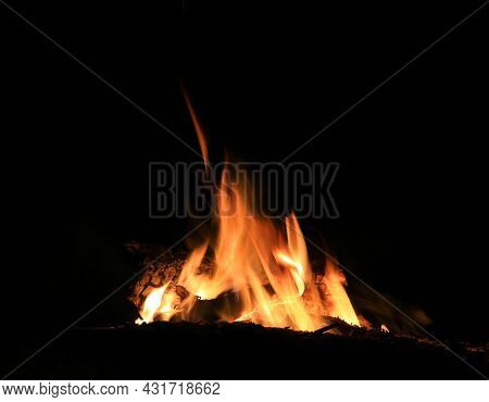 abstract flames of hot camp fire in darkness