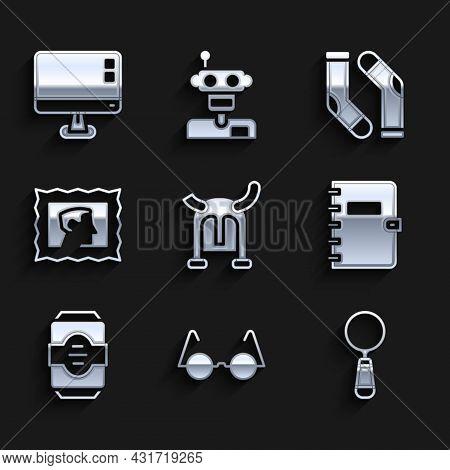 Set Viking In Horned Helmet, Eyeglasses, Magnifying, Spiral Notebook, Energy Drink, Postal Stamp, So