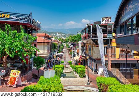 Alanya, Turkey - July 21, 2021: The urban scenery of Alanya city, Turkey. Alanya is a very popular holiday destination in the Mediterranean Sea.
