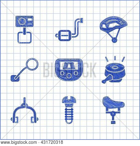 Set Gps Device With Map, Metallic Screw, Bicycle Seat, Bell, Brake Calipers, Rear View Mirror, Helme