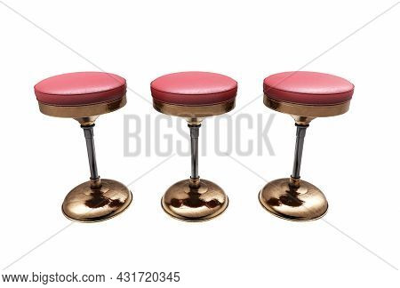 Modern Bar Table With Two Chairs On White Background. 3d Render Image.