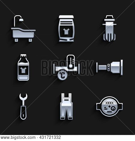 Set Industry Metallic Pipe, Work Overalls, Water Meter, Pipe Adapter, Wrench Spanner, Bottle For Cle