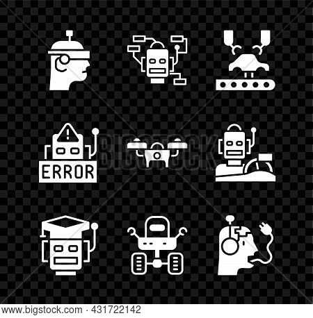 Set Smart Glasses, Robot, Robotic Robot Arm On Factory, Mars Rover, Charging Battery, Error And Dron
