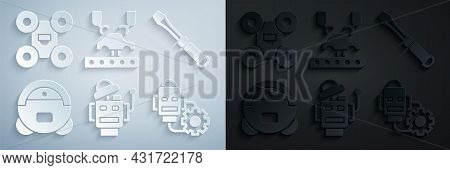 Set Robot, Screwdriver, Vacuum Cleaner, Setting, Robotic Robot Arm On Factory And Drone Icon. Vector