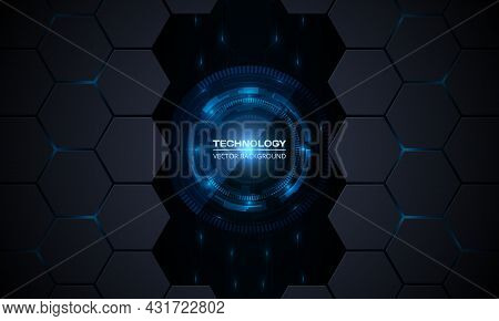 Abstract Vector Innovation Technology Concept Background With Circuit Board And Hexagonal Grid. Blue