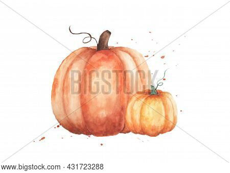Watercolor Pumpkins Illustration. Set Of Two Orange Pumpkins With Hand Painted Isolated On White Bac
