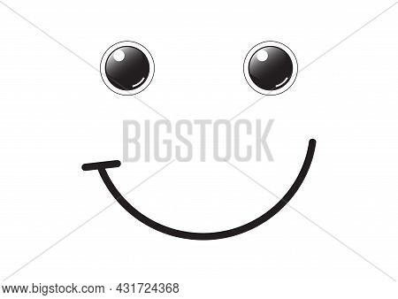 Black And White Happy Face Icon Vector Illustration