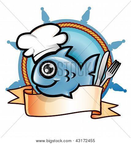 cartoon fish with hat -  restaurant symbol poster