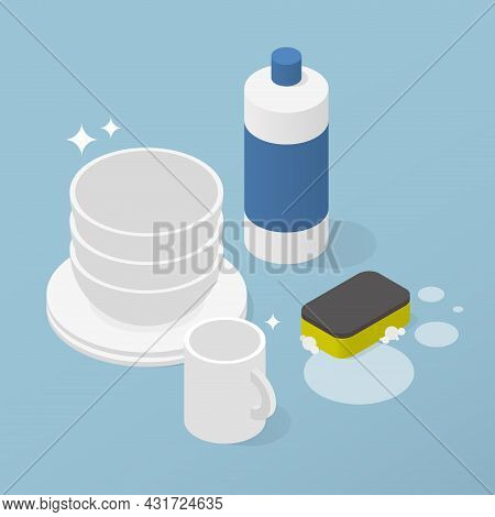 Washing Dishes Crockery Isometric Vector Illustration. Cleaning Plate, Bowl And Mug Use Chemical Det