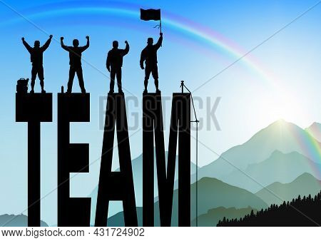 Silhouette Of Men Standing On Top Of Text Team With Cheerful On Sunrise Background, Success, Achieve