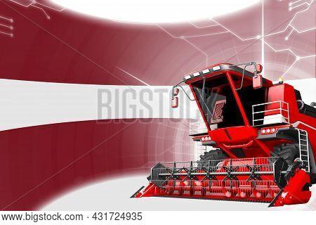 Agriculture Innovation Concept, Red Advanced Farm Combine Harvester On Latvia Flag - Digital Industr