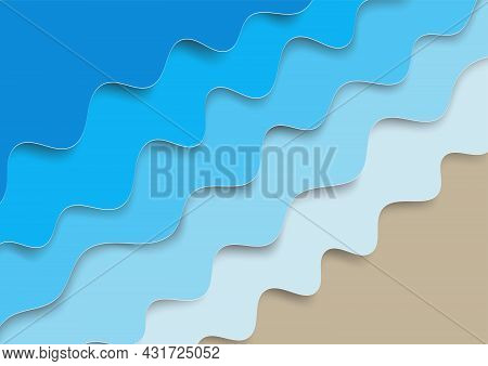 Blue Water Wave Texture Abstract Background, Paper Art Vector Illustration
