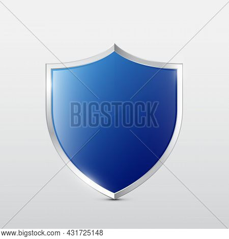 Blue Glossy Shield With Metal Frame Vector Illustration