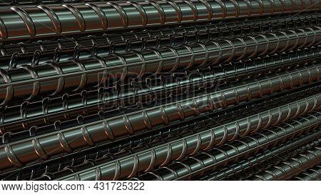 Steel Rebar Background - Isolated Cgi Industrial 3d Rendering
