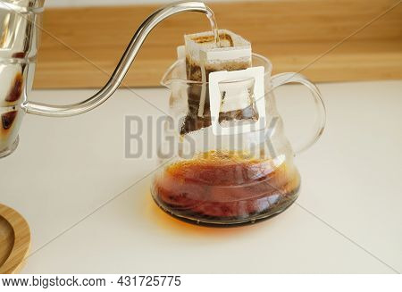 Drip Bag Coffee Brewing Process. Easy Simple Brew Method, New Trend