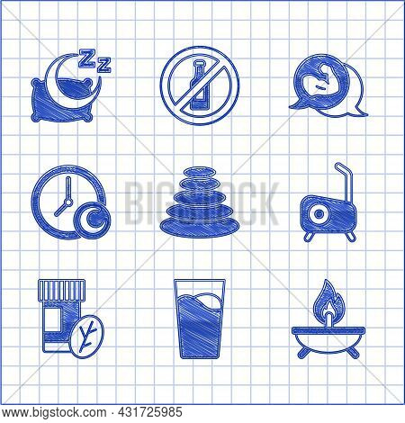 Set Stack Hot Stones, Glass With Water, Aroma Candle, Stationary Bicycle, Vitamin Pill, Time Sleep,