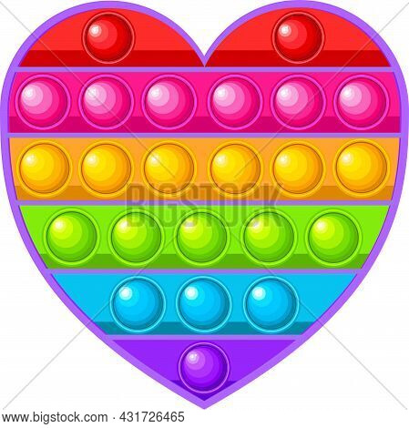 Pop It Popit Is A Fidget Childrens Sensory Toy In The Form Of A Heart.