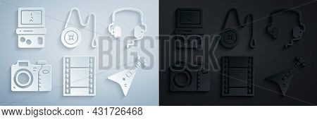 Set Play Video, Headphones, Photo Camera, Electric Bass Guitar, Yoyo Toy And Tetris Icon. Vector