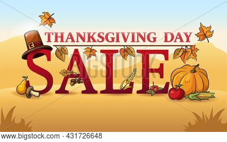 Thanksgiving Autumn Sale. Promotional Text Decorated With Autumn Leaves, Vegetables, Berries And Aco