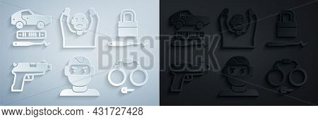 Set Thief Mask, Lock Picks For Lock Picking, Pistol Gun, Handcuffs, Surrendering Hands Up And Car Th