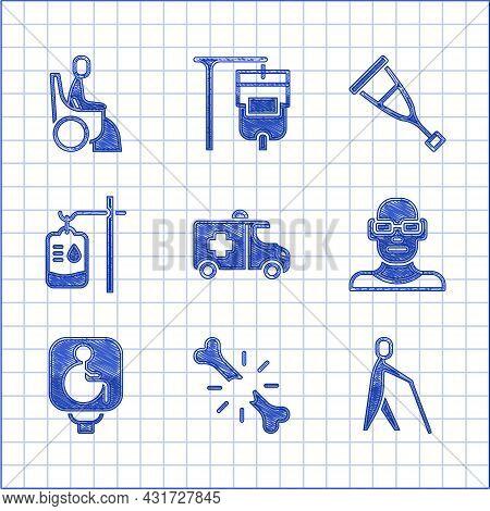 Set Emergency Car, Human Broken Bone, Blind Human Holding Stick, Poor Eyesight, Disabled Wheelchair,