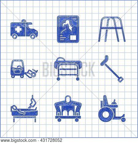 Set Stretcher, Man Without Legs Sitting Wheelchair, Electric, Walking Stick Cane, Patient Broken, Di