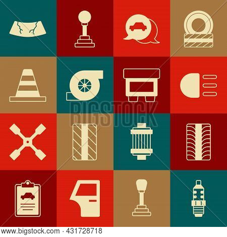 Set Car Spark Plug, Tire Wheel, High Beam, Service, Automotive Turbocharger, Traffic Cone, Broken Wi