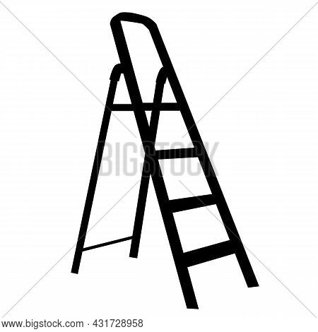 Ladder Icon On White Background. Metal Step Ladder Sign. Stairway Symbol. Flat Style.
