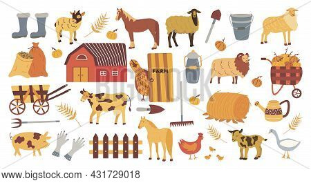 Farm Elements Set. Colorful Vector Isolated Illustration Hand Drawn. Harvest Season. Rubber Boots, B