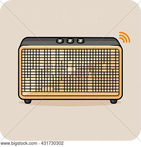 Retro Blutooth Speaker Orange And Gray Color,flat Design And Isolated On Blue Background For Graphic
