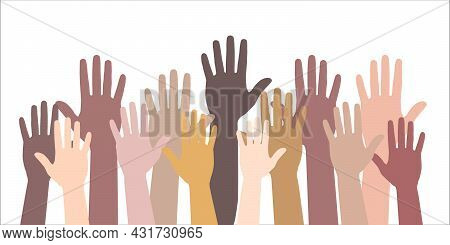 Many Hands Of Different People In Unity Raise Hands Up. Raised Hand Silhouettes, People Colorful Vot