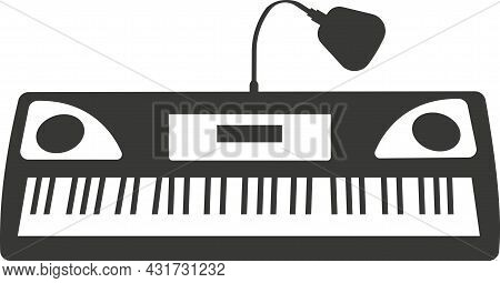 A Black Flat Silhouette Synthesizer With A Microphone.