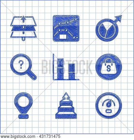 Set Graph, Chart, Diagram, Pyramid Infographics, Digital Speed Meter, Shopping Bag With Sale, Locati