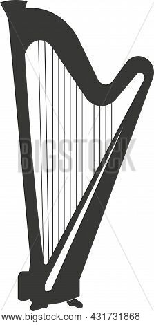 Black Silhouette Of A Flat Harp With Strings