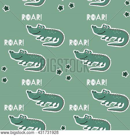 Childish Seamless Pattern With Cute Growling Alligator. Green Background.