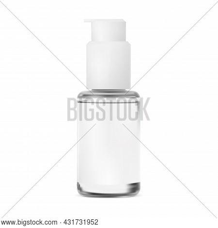 Pump Bottle. Cosmetic Serum Packaging, Glass Jar. Isolated Essence Dispenser, Small Glitter Template