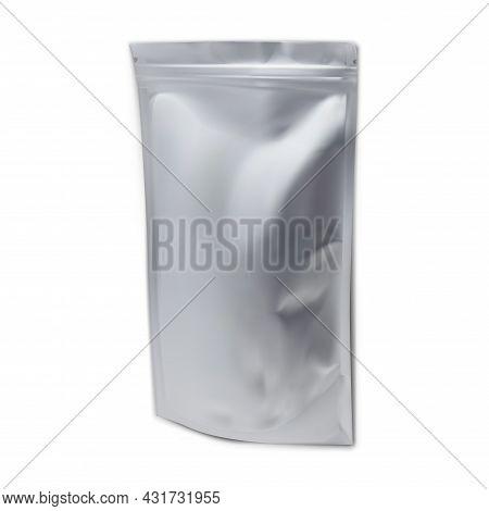 Foil Pouch Mockup, Plastic Bag Template, Snack Sachet Vector Template, Isolated Aluminum Envelope Zi