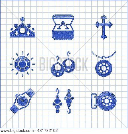Set Earrings, Jewelry Store, Pendant On Necklace, Wrist Watch, Diamond, Christian Cross And King Cro