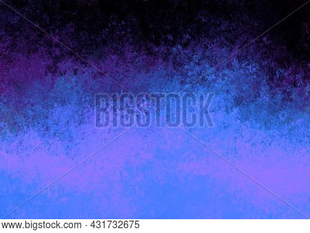 Black Purple Blue Antique Old Background With Blur, Gradient And Watercolor Texture. Space For Artis