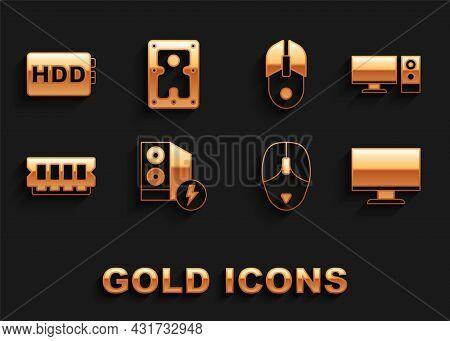 Set Case Of Computer, Computer Monitor, Screen, Mouse, Ram, Random Access Memory, Hard Disk Drive Hd