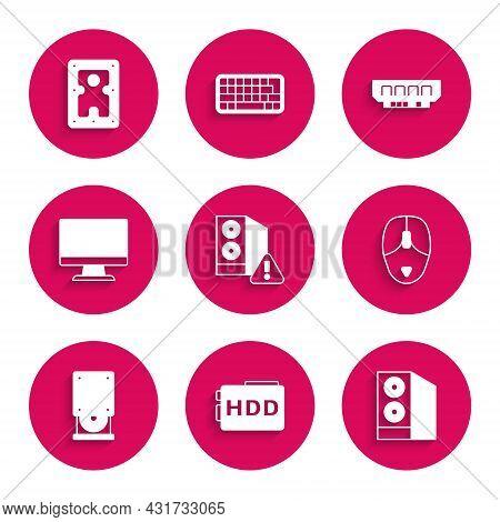 Set Case Of Computer, Hard Disk Drive Hdd, Computer Mouse, Optical Disc, Monitor Screen, Ram, Random
