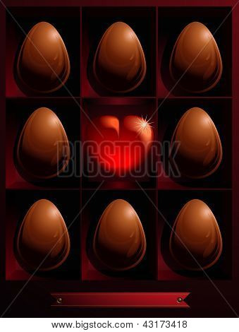 Box With Chocolate Easter Eggs And Heart