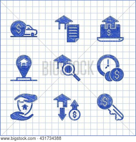 Set Search House, House With Dollar, Rent Key, Time Is Money, Shield, Location, Online Real Estate A