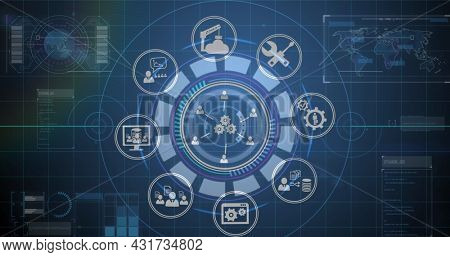 Image of scope scanning, digital icons and data processing with world map in background. Digital interface global connection and communication concept digitally generated image.