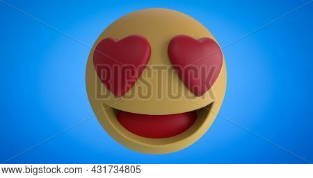 Image of love, like, angry and sad emoji icons appearing and disappearing on a blue background 4k