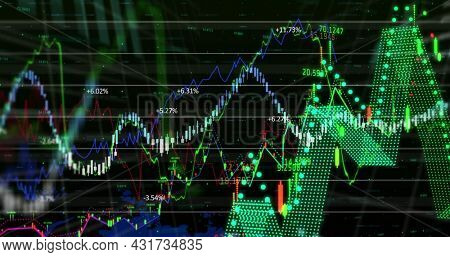 Digital image of Financial data processing over world map against black background. Global finances and Global networking concept
