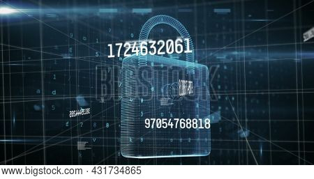 Image of numbers changing data processing with online security padlock and grid. global technology connection digital interface concept digitally generated image.