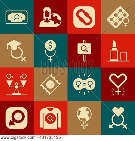 Set Gender, Feminism, Lipstick, Sanitary Napkin, Finance, Teacher, Money Growth Woman And Feminist A