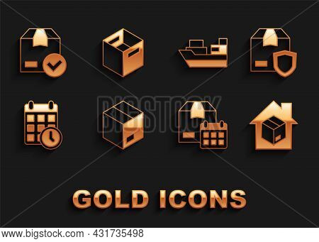 Set Carton Cardboard Box, Delivery Security With Shield, Home Delivery Services, Cardboard Calendar,