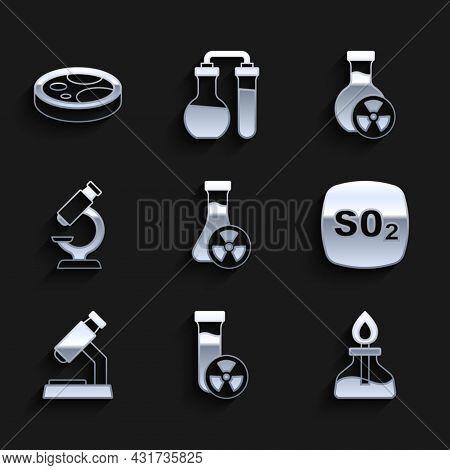 Set Test Tube With Toxic Liquid, Alcohol Or Spirit Burner, Sulfur Dioxide So2, Microscope, And Petri